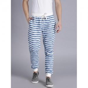 Kook N Keech Blue & White Striped Jogger Track Pants