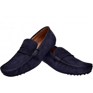 d0de9da78c8 Hirel s Navy Blue Suede Leather Stylish Loafers