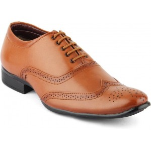 Isole Brown Synthetic Leather Lace Up Formal Shoes