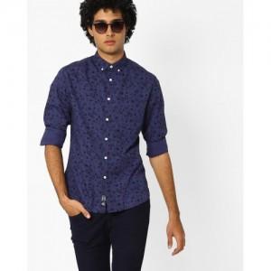 Blue Saint Cotton Printed Shirt with Button-Down Collar