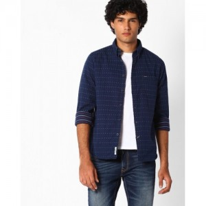 Pepe Jeans Navy Blue Cotton Printed Slim Fit Shirt