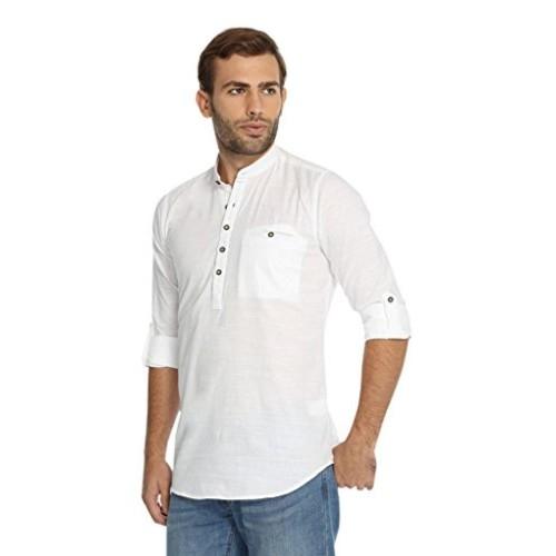 5baa0fa4f38 Buy Rockstar Rockstar Men s Short Length Linen White Kurta online ...