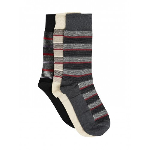Mast & Harbour Men Set of 3 Striped Above Ankle-Length Socks
