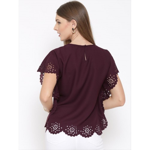 Rare Casual Short Sleeve Solid Women's Maroon Top