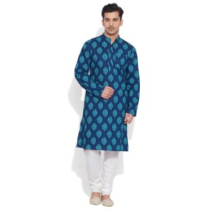 Very Me Blue Cotton Printed Casual Kurtas