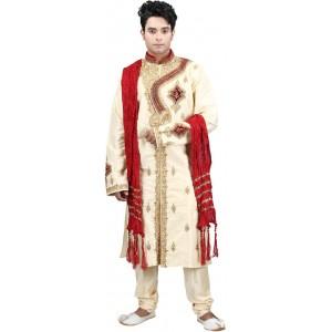 Jamaibabu Cream & Red Silk Embroidered Sherwani