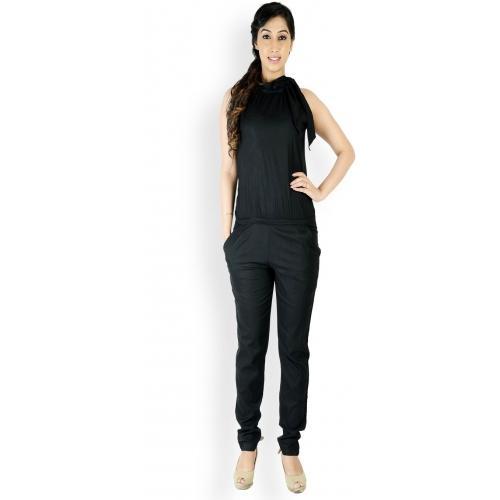 29bd58cc456b Buy Cottinfab Blakck Solid Rayon Jumpsuit online