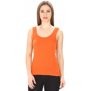 7a374a0b62b794 Trudam Orange Cotton Casual Sleeveless Solid Tank Top