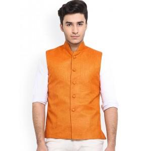 Shaftesbury London Orange Jute Nehru Jacket