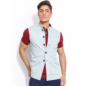 Mr Button Light Blue Cotton Printed Nehru Jacket