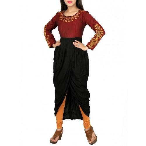 Span maroon cotton dhoti style kurta