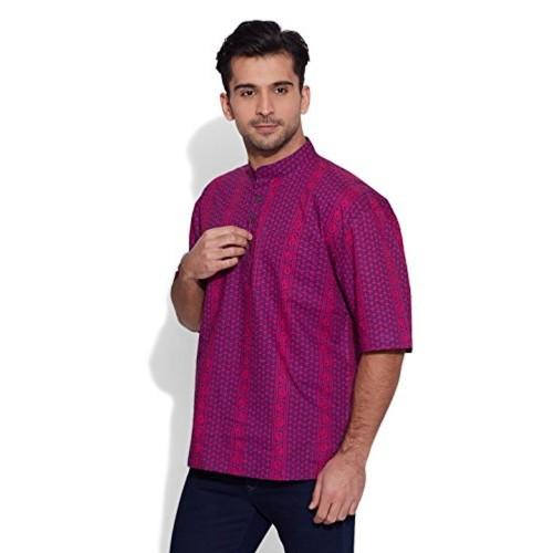 Very Me Very Me Men's Mid Thigh Cotton Kurta (8907507022332_MCSK481213_XXXX-Large_Purple)