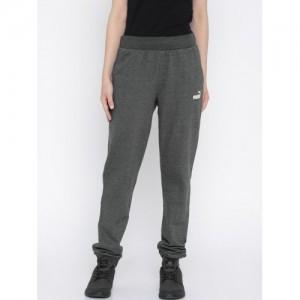 PUMA Grey Poly cotton Solid ESS No. 1 Track Pants