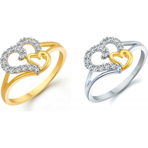 Vighnaharta Couple Heart Selfie Alloy Cubic Zirconia 18K Yellow Gold, 18K White Gold Ring Set