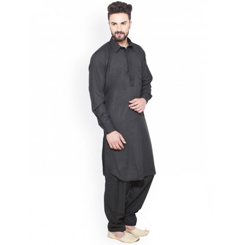 Sojanya Black Cotton Blend Pathani Kurta Salwar