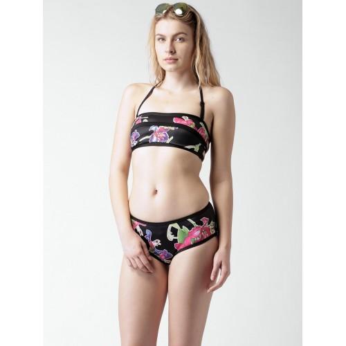 Mast & Harbour FS150013 Black Polyamide Floral Printed Bikini Set