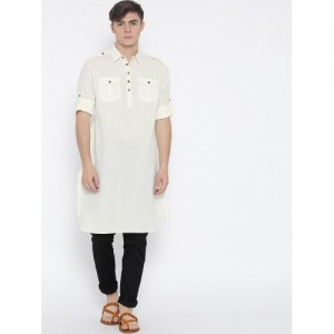 Indus Route by Pantaloons Off-White Cotton Pathani Kurta