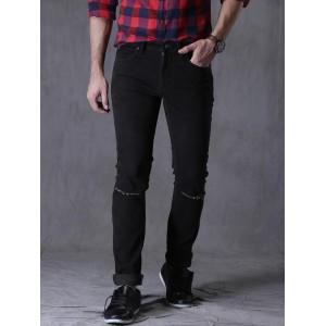 WROGN Black Slim Fit Mid-Rise Slash Knee Jeans