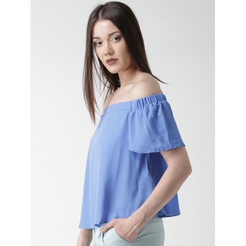 5d968917e6d Buy New Look Women Blue Solid Off-Shoulder Top online | Looksgud.in
