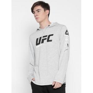 Reebok Grey Melange UFC FG Printed Hooded Sweatshirt