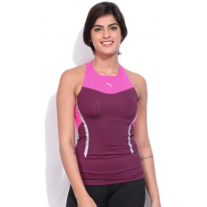 Puma Casual Sleeveless Solid Women\'s Pink Top