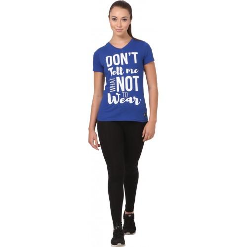 Buy CRUSH FITNESS INDIA Printed Women s V-neck Blue d8830b9c07