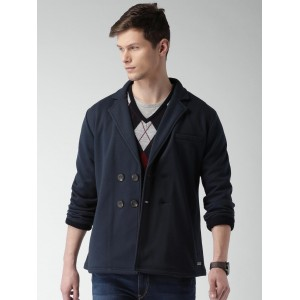 Mast & Harbour Navy Double-Breasted Casual Blazer