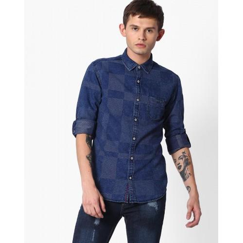 0b168bf571 Buy MUFTI Checked Slim Fit Denim Shirt online