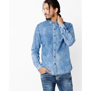 JOHN PLAYERS Slim Fit Shirt with Patch Pocket
