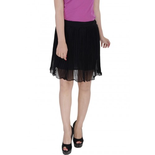 Soundarya Striped Women's Pleated Black Skirt
