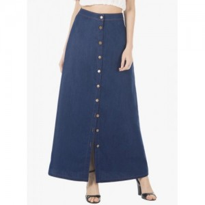 FabAlley Solid Blue Skirt