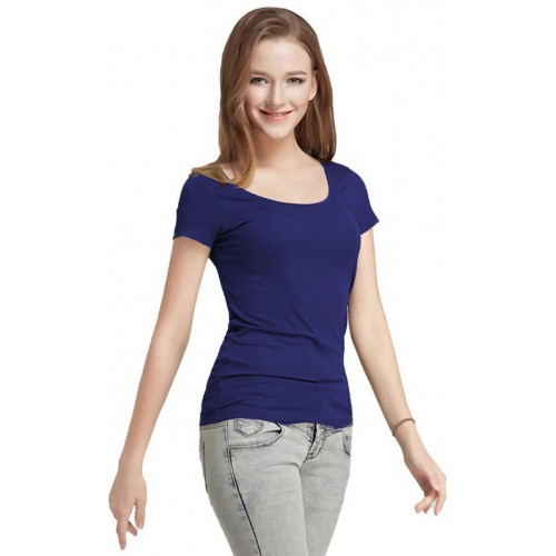 398321dde Buy Fashion Line Casual Short Sleeve Solid Women s Dark Blue Top ...