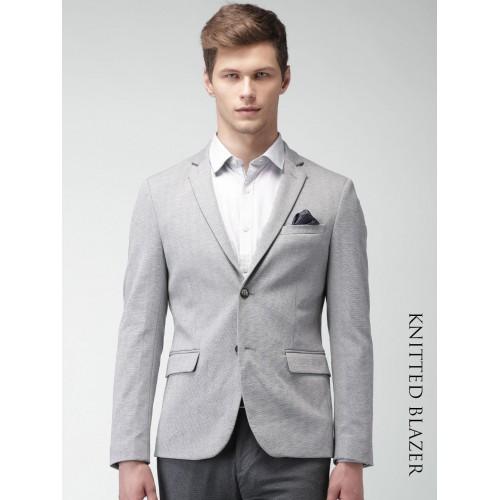 ... INVICTUS Grey Slim Fit Single-Breasted Smart Casual Blazer ...