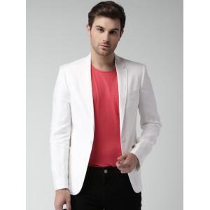Mast & Harbour White Single-Breasted Linen Blazer