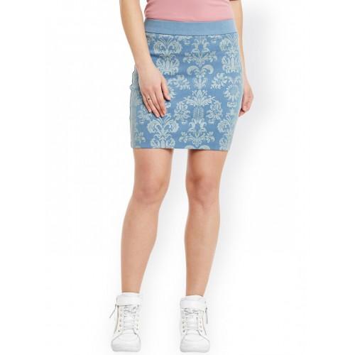 Rider Republic Blue Printed Denim Pencil Skirt