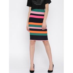 Vero Moda Multicoloured Striped Pencil Skirt