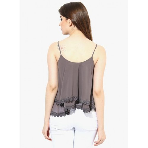 Harpa Grey Solid Embroidered Strappy Top
