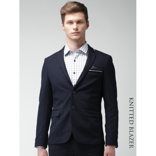 bdd20bd59bed ... INVICTUS Navy Blue Slim Fit Knitted Single-Breasted Blazer ...