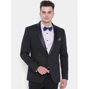 SUITLTD Black Slim Fit Single-Breasted Tuxedo Blazer