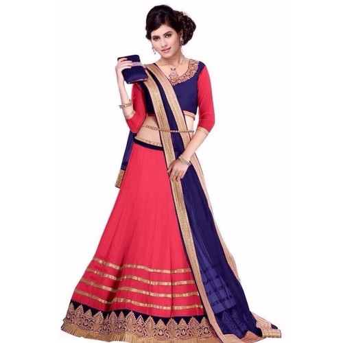 VR Fashion Blue & Red Net Lace Work Embroidered Lehenga & Choli