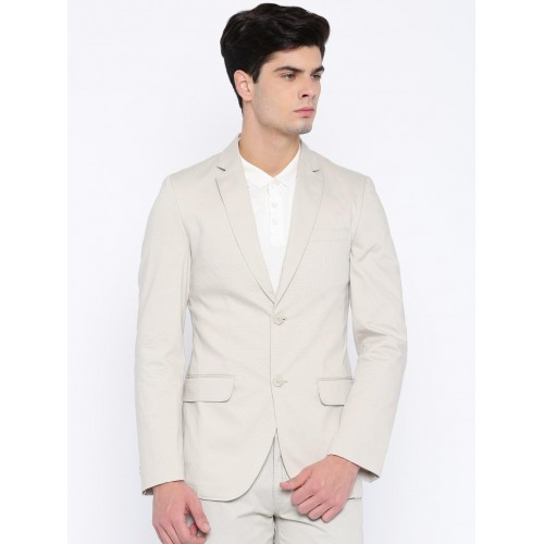 Mast & Harbour Beige Single-Breasted Casual Blazer
