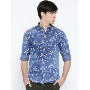 John Players Blue Cotton Trim Fit Printed Denim Shirt