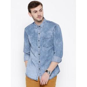 John Players Blue Cotton Trim Fit Washed Denim Shirt