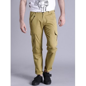 Kook N Keech Men Khaki Solid Regular Fit Detachable Cargo Trousers