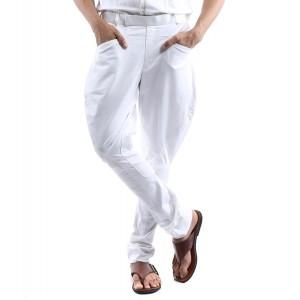 White Solid Cotton Jodhpuri Pants