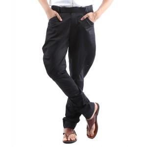 Black Solid Cotton Mid Rise Jodhpuri Pants