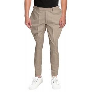 Horsler Beige Solid Cotton Jodhpuri Casual Trouser