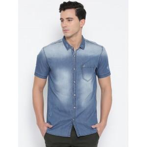 Numero Uno Blue Cotton Denim  Washed Slim Fit Shirt