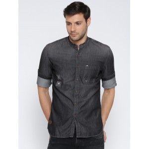 Numero Uno Charcoal Grey Cotton Denim Washed Slim Fit Shirt