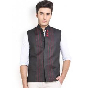 Shaftesbury London Black Jute Nehru Jacket